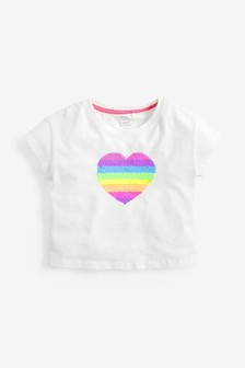 Flippy Sequin Rainbow Heart T-Shirt (3-16yrs)