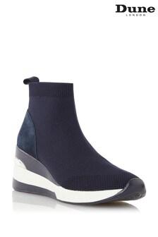 Dune London Blue Engel Mid Wedge Sock Trainers