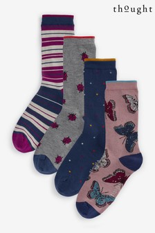 Thought Pink Ellie Wildlife Sock Box Four Pack