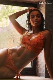 Wolf & Whistle Orange Crochet Lace Triangle Bikini Top