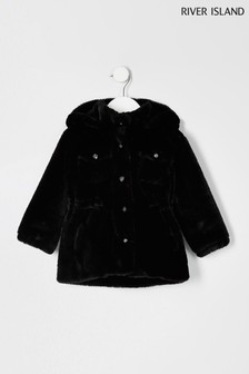 River Island Black Faux Fur Parka Coat