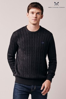 Crew Clothing Black Regatta Cable Crew Sweater