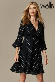 Wallis Spot Wrap Flute Sleeve Dress