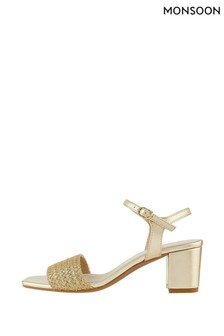 Monsoon Gold Olive Occasion Block Heel Sandals
