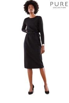 Pure Collection Kleid aus schwerem Jersey mit V-Ausschnitt hinten, Schwarz