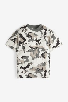 Camo Short Sleeve Relaxed Drop Shoulder Fit T-Shirt (3-16yrs)