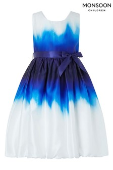 Monsoon Blue/White Skye Puffball Dress