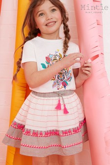 Mintie by Mint Vevlet Pink Textured Pom Pom Skirt