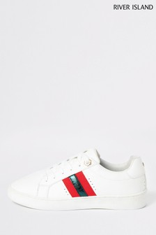 River Island White Side Stripe Trainers