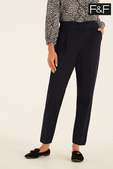F&F Black Ponte Belted Trousers