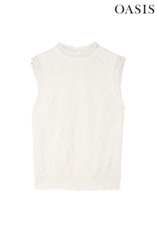 Oasis White Lace Shirred Shell Top