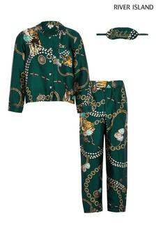 River Island Green Satin Pyjama Set