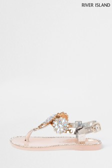 River Island Rose Gold Embellished Toe Post Jelly Sandals
