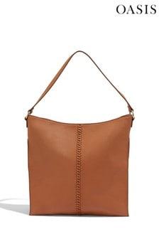 Oasis Tan Whipstitch Hobo Bag