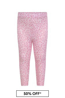 Baby Girls Pink Cotton Leopard Print Leggings