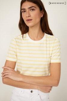 Warehouse Yellow Stripe Button Detail T-Shirt