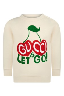 Baby Girls White Cotton Cherry Sweatshirt
