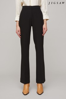 Jigsaw Black Modern Crepe Kick Hem Trousers