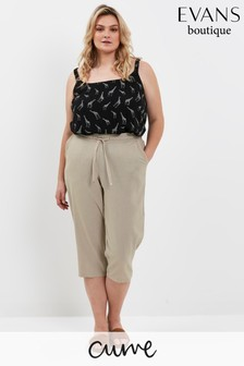 Evans Curve Neutral Linen Blend Cropped Trousers