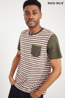 White Stuff Pink Khaki Stripe Organic Cotton T-Shirt