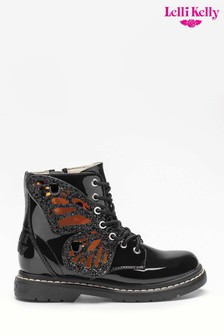 Lelli Kelly Black Patent Fairy Wing Boots