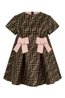 Fendi Kids Baby Girls Brown/Pink Neoprene Logo Dress
