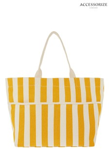 Accessorize Yellow Woven Stripe Tote Bag