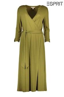 Esprit Green Knitted Midi Wrap Dress