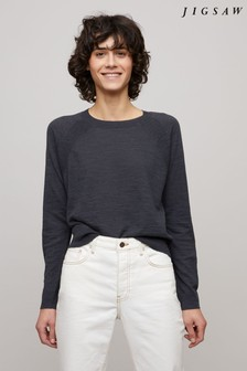 Jigsaw Grey Linen Cotton Scoop Hem Jumper