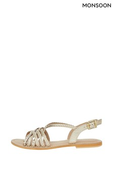 Monsoon Gold Primrose Plait Leather Strappy Sandals