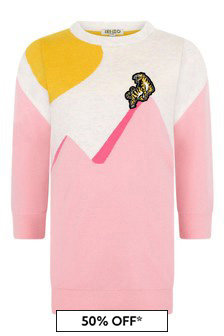 Kenzo Kids Girls White And Pink Knitted Tiger Dress
