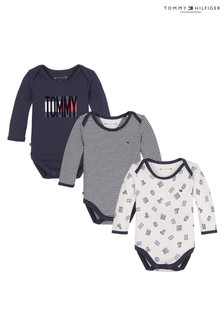 Tommy Hilfiger Blue Baby Bodysuits Three Pack Gift Box