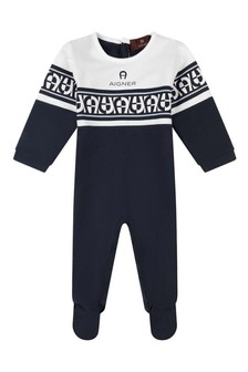 Boys Navy And White Cotton Babygrow