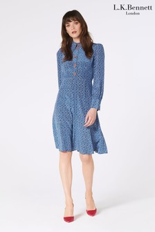 L.K.Bennett Blue Mathilde Bow Print Silk Dress