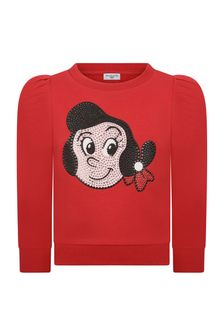 Girls Red Cotton Olive Oyl Sweater