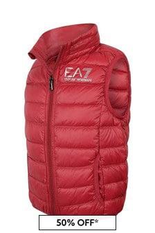 EA7 Emporio Armani Boys Red Down Padded Gilet
