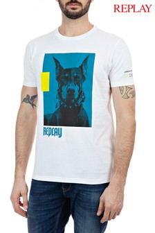 Replay® Dog Print Logo T-Shirt