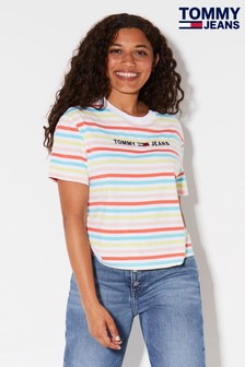 Tommy Jeans Yellow Rainbow Stripe Logo T-Shirt