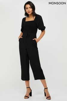 Monsoon Black Fleur Shirred Jumpsuit