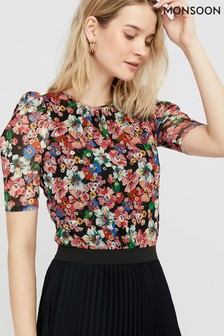 Monsoon Natural Flore Floral Mesh Top