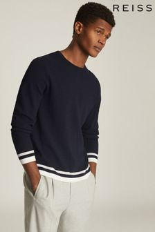 Reiss Blue Handsome Tipped Crew Neck Jumper