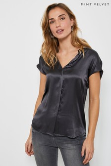 Mint Velvet Grey Charcoal Silk Satin Front T-Shirt
