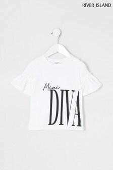 River Island White Trumpet Sleeve Mini Diva T-Shirt