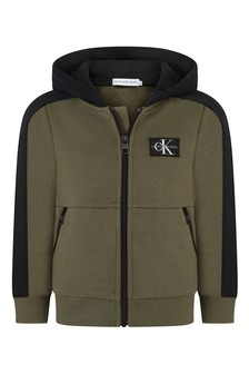 Boys Khaki Colourblock Zip-Up Top