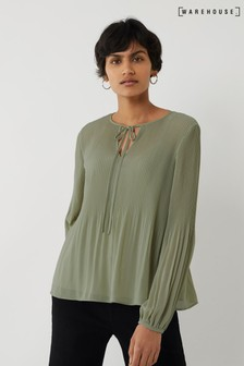 Warehouse Green Micropleat Tie Neck Top