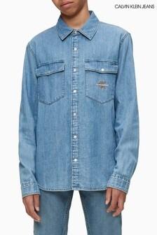 Calvin Klein Jeans Blue Monogram Denim Shirt