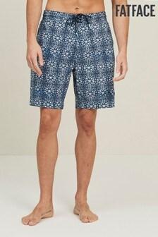 FatFace Blue Camber Beach Print Swim Shorts