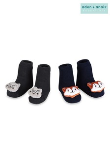aden + anais Navy Squirrel + Fox Rattle Socks Two Pack Gift Set