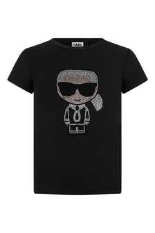 Girls Black Jersey Karl Logo T-Shirt