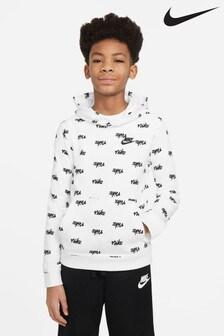 Nike White All Over Print Overhead Hoody